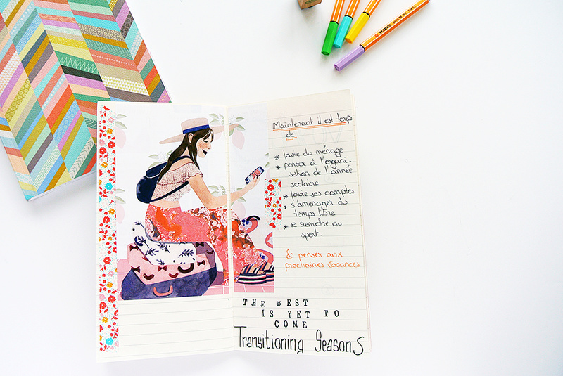 art journal - traveler's notebook - collage - lettering - stamp - masking tape