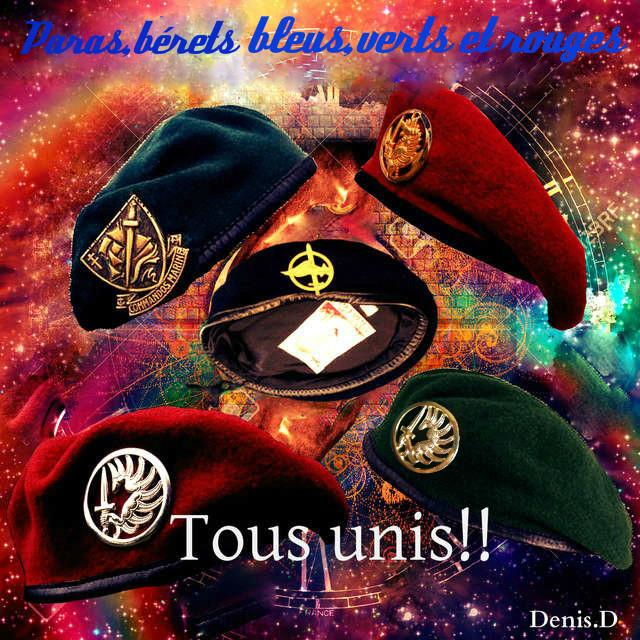 Paras, b�rets bleus, verts et rouges, tous unis !