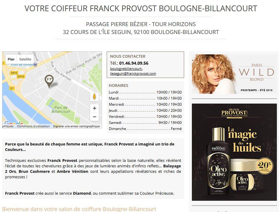 Salon de coiffure franck provost for Salon de coiffure boulogne billancourt