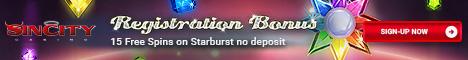 SinCity Casino 15 Freispiele Bonus ohne Einzahlung