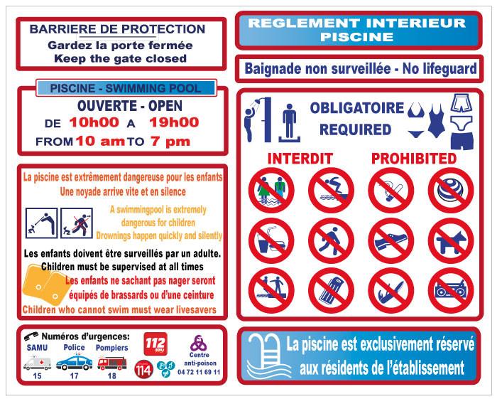 Ouverture de la piscine for Exemple de reglement interieur