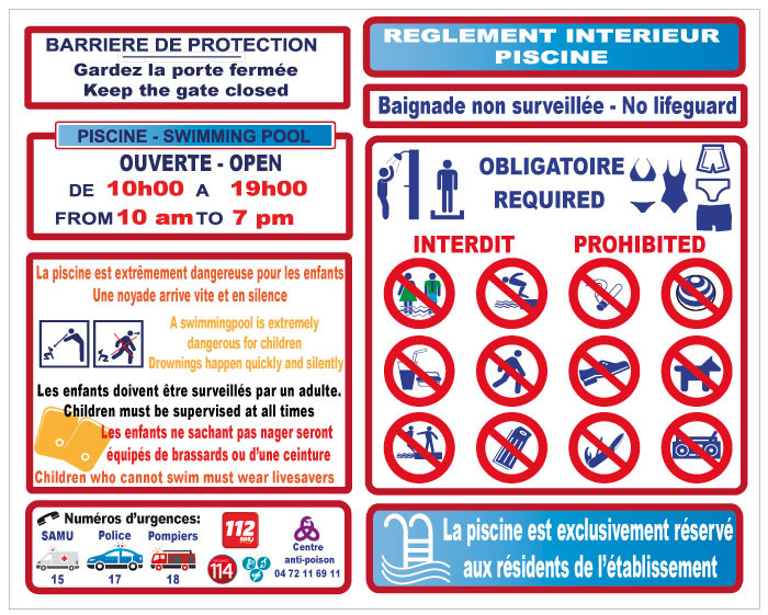 Ouverture de la piscine for Regle de securite piscine