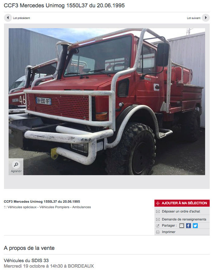 4 unimog 1550l37 pompiers vendre aux ench res sur bordeaux. Black Bedroom Furniture Sets. Home Design Ideas